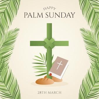 Gradient palm sunday illustration with cross