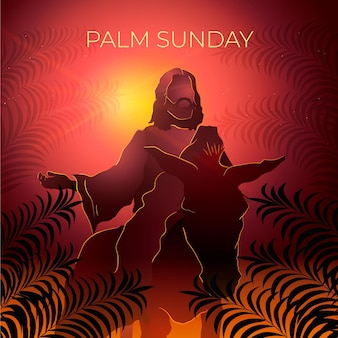 Gradient palm sunday illustration