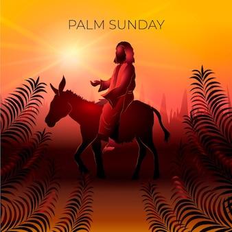 Illustrazione di domenica delle palme gradiente