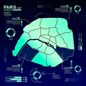 Gradient paris map infographics