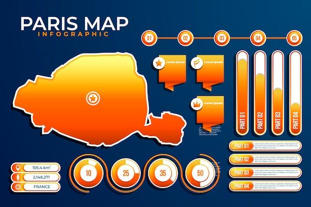 Градиентная инфографика карты парижа