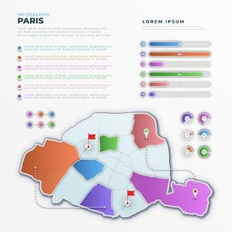 Gradiente infografica mappa di parigi