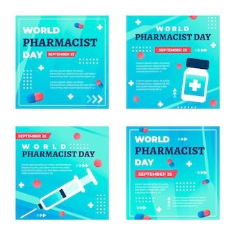 Raccolta di post su instagram per il giorno del farmacista sfumato