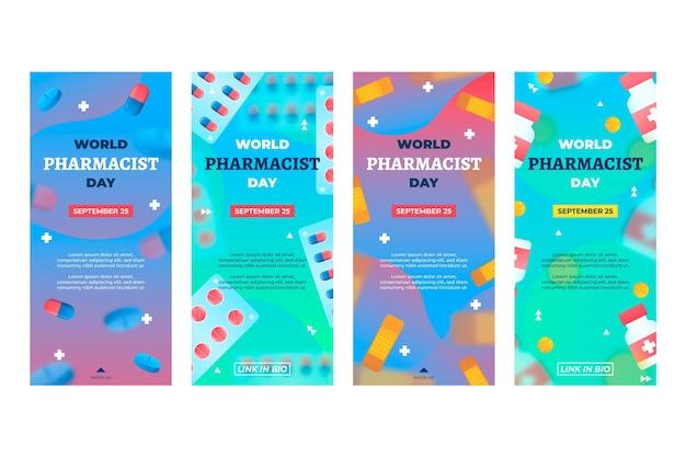 Raccolta di storie su instagram per il giorno del farmacista sfumato