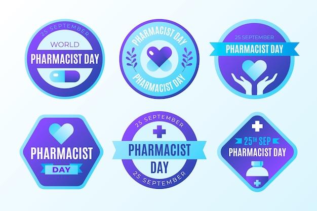 Collezione di etichette per il giorno del farmacista sfumato