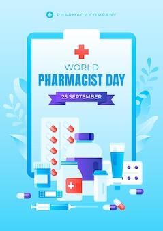 Modello di poster verticale del giorno del farmacista sfumato
