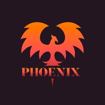 Шаблон логотипа градиент феникс