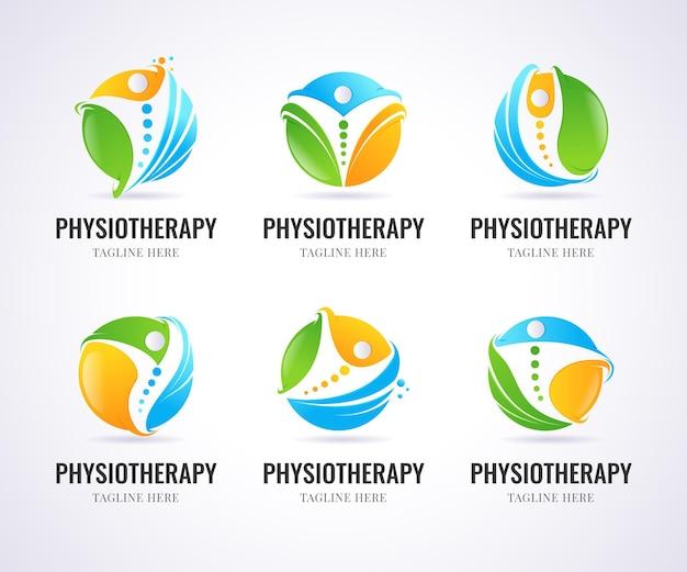 Modelli di logo di fisioterapia sfumata