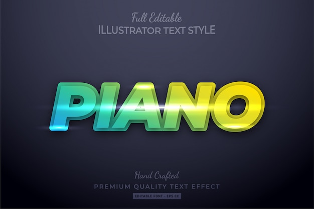 Gradient piano neon editable 3d text style effect