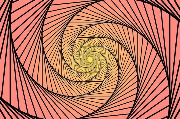그라디언트 분홍색과 노란색 나선형 trippy 배경