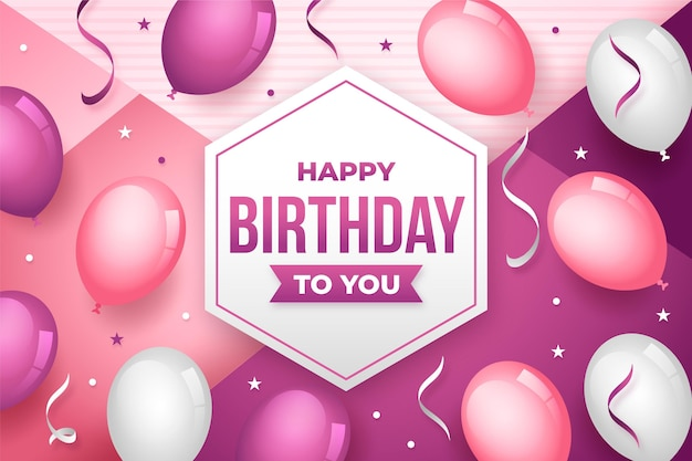 그라데이션 핑크 생일 배경
