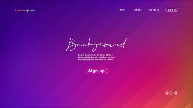 Gradient pink and blue landing page template
