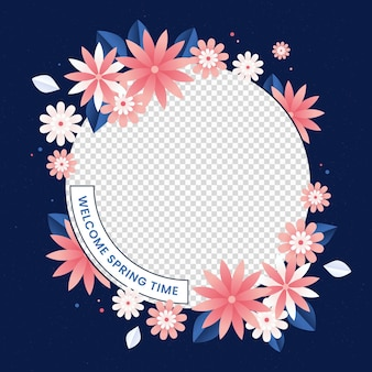 그라데이션 핑크 꽃 페이스 북 프레임