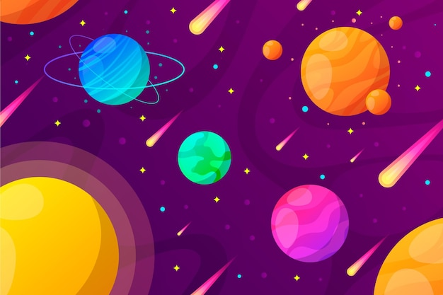 Gradient planets galaxy background