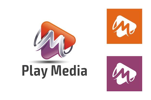 Значок градиента воспроизведения мультимедиа с символом буквы m для мультимедиа, музыки, шаблона логотипа аудиоподкаста