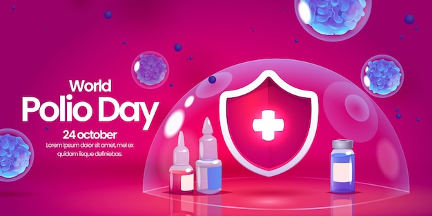Gradient polio day background with shield