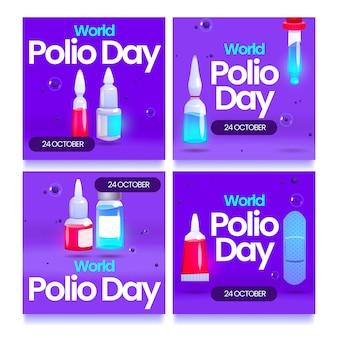 그라데이션 소아마비의 날 인스타그램 게시물 세트