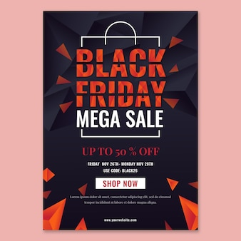 Gradient polygonal black friday vertical poster template