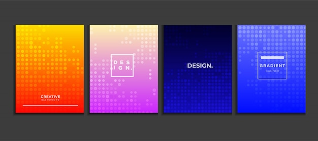 Gradient poster background set with halftone, modern banner concept vector.