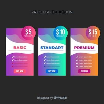 勾配価格表コレクション