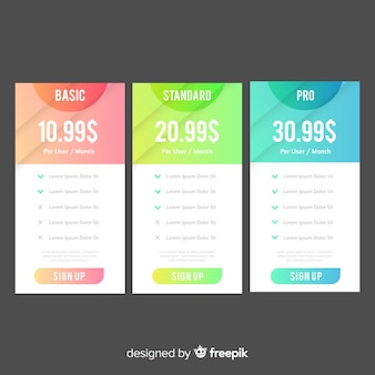 Gradient price list collection