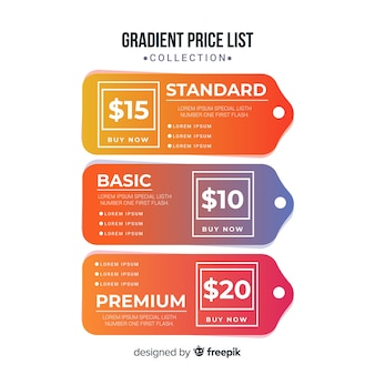 Gradient price list set