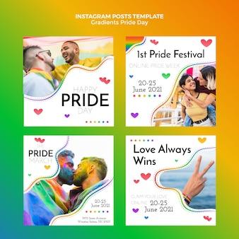 Gradient pride day instagram posts collection Free Vector