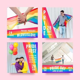 Gradient pride day instagram posts collection