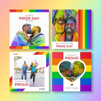 Gradient pride day instagram posts collection