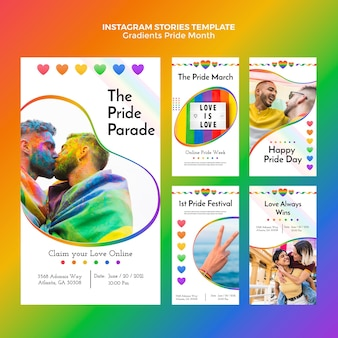 Gradient pride day instagram stories collection