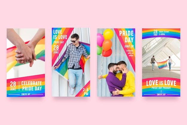 Raccolta di storie di instagram di gradiente orgoglio giorno
