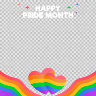 Gradient pride day social media frame template
