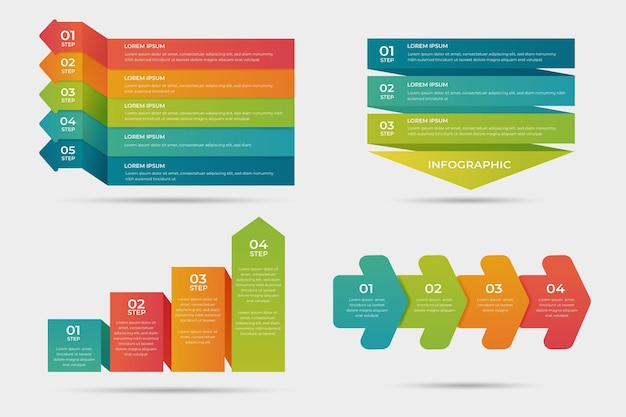 Gradient process infographic design