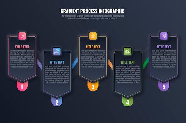 Шаблон инфографики градиентного процесса Бесплатные векторы