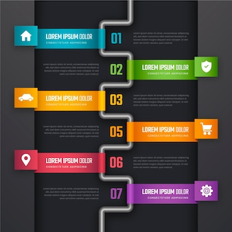Шаблон инфографики градиентного процесса