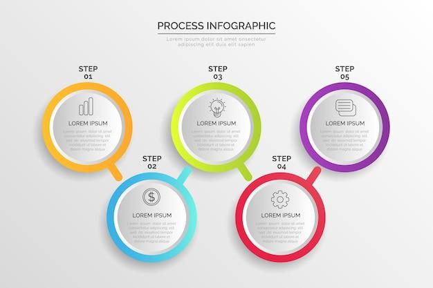 インフォグラフィックのグラデーションプロセステンプレート
