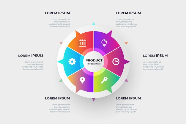 Gradient product infographics