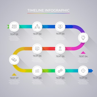グラデーションのプロのタイムラインインフォグラフィック