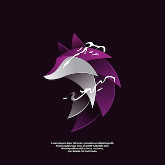 Gradient purple wolf logo template