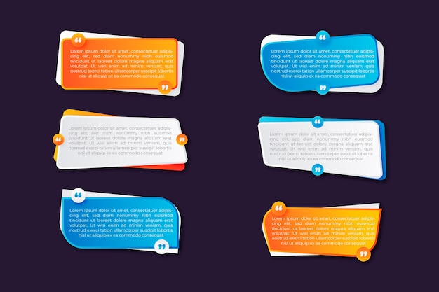 Gradient quote box frame collection