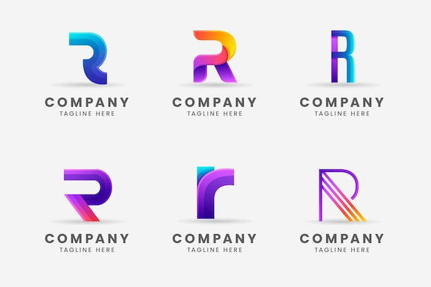 Gradient r logo template collection