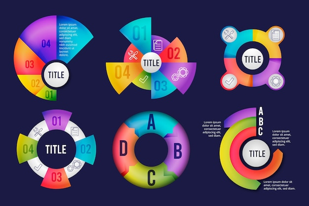 Gradient radial infographic collection