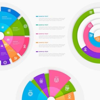 그라데이션 방사형 infographic 컬렉션