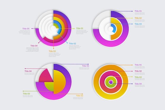 그라데이션 방사형 infographic 세트