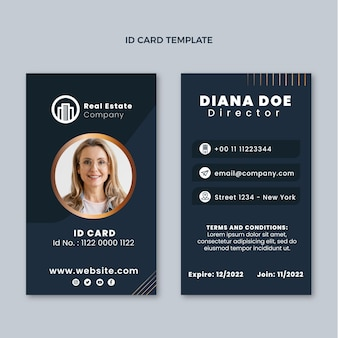 Gradient real estate id card template