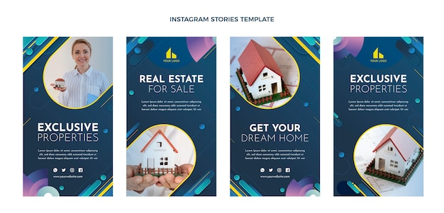 Gradient real estate instagram stories with house