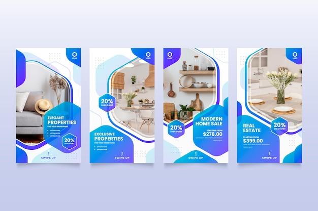 Gradient real estate instagram story pack