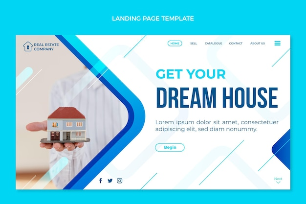 Gradient real estate landing page with small house