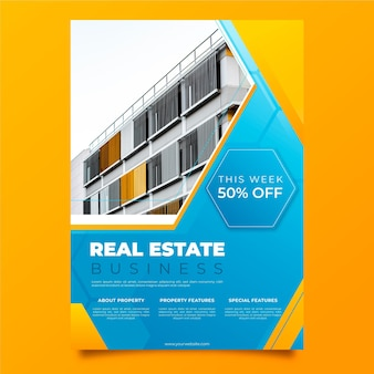 Gradient real estate poster template with photo