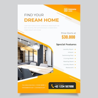 Gradient real estate poster template